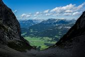 picture of ravines  - Large view from the ravine in Austria Alps - JPG