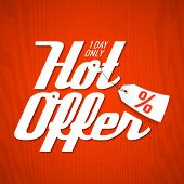 Hot Offer poster element. Vector.
