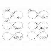 picture of infinity symbol  - Popular infinity symbols tattoo set  - JPG