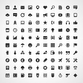 100 Flat icons vector set for web site design, infographics, ui and mobile apps. Objects, business, office, communication and marketing items