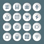 Flat icons vector set paper and shadow effect for web design, infographics, ui and mobile apps. Objects, business, office, communication and marketing items