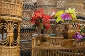Cloth Made Flowers And Cane Furnitures