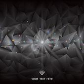 Abstract luxury gems shape black geometric background.