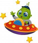 Illustration Featuring an Alien Boy Riding a Spaceship