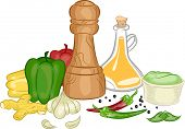 stock photo of condiment  - Illustration Featuring Different Types of Condiments and Spices - JPG
