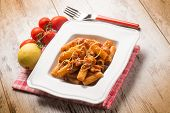 stock photo of spaghetti  - spaghetti with swordfish ragout and lemon peel - JPG