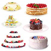 Collage of tasty cakes, isolated on white