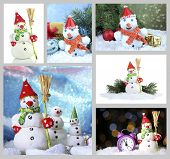 Collage of beautiful snowmen and Christmas decor