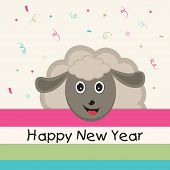 Kiddish poster for Happy New Year with cartoon of a smiling sheep on stylish background.