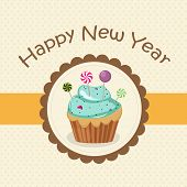 Happy New Year 2015 greeting card design decorated with cap cake and candy in a frame.