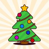 pic of kawaii  - Kawaii Christmas tree with star and baubles - JPG