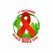 Glossy red ribbon of aids awareness on globe for 1st December, World Aids Day concept.