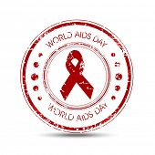 Rubber stamp for World Aids Day concept with stylish text and red ribbon of aids awareness.
