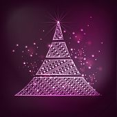 Merry Christmas celebrations greeting card decorated with beautiful X-mas Tree on shiny purple background.
