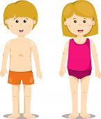 illustration of boy and girl standing