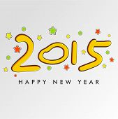New Year 2015 celebration poster, banner or flyer with stylish text on stars decorated grey background.