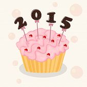 Happy New Year 2015 celebration with cup cake on stylish background.