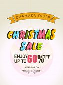 Merry Christmas sale poster with colorful text and yellow ribbon.