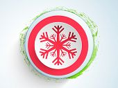 Merry Christmas Day celebration with snowflake decorated stylish sticker on blue background.