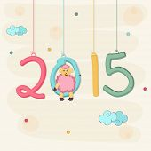 Poster of Happy New Year 2015 decorated with colorful hanging text and sheep on stylish background.