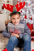 Happy Young Boy At Christmas