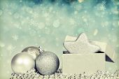 Sparkling retro styled Christmas background with silver Christmas balls and decoration