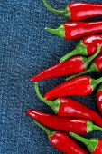 Red hot chili peppers on color fabric background