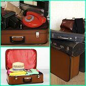 Collage of retro travel suitcases