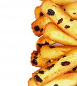 image of baked raisin cookies  - Frame of Homemade Biscuit Raisin Cookies closeup on White background - JPG