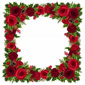 Christmas frame with roses, holly, fir branches and cones. Vector illustration.
