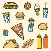 Fastfood cartoon set