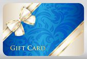 image of exclusive  - Exclusive blue gift card with damask ornament and cream diagonal ribbon - JPG