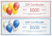 Gift Certificate With Party Baloons