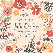 Stylish Save the Date card made of bright poppy flowers in vector. Vintage summer background in bright colors