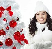 attractive young caucasian woman in warm clothing