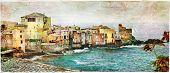 old village in Corsica - Erbalunga, artistic  picture