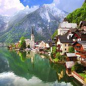 Hallstatt - beautiful mountain village on lake , Austria