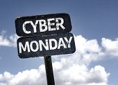 Cyber Monday sign with clouds and sky background