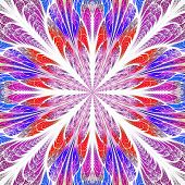 Symmetrical Pattern In Stained-glass Window Style. Blue And Red Palette. Computer Generated Graphics