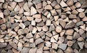 Firewood Stacked In Heap