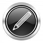 pencil icon, black chrome button