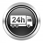 delivery icon, black chrome button, 24h shipping sign