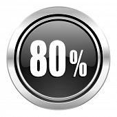 80 percent icon, black chrome button, sale sign