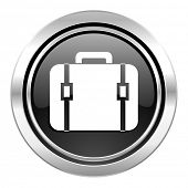 bag icon, black chrome button, luggage sign