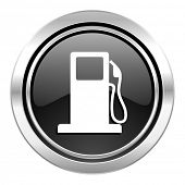 petrol icon, black chrome button, gas station sign