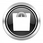 weight icon, black chrome button