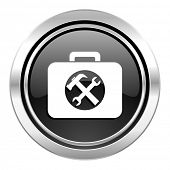 toolkit icon, black chrome button, service sign