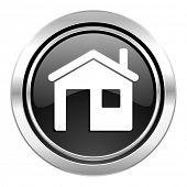 house icon, black chrome button, home sign