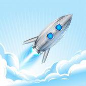 Retro Rocket In Sky