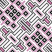 Seamless Geometric Pattern In Black And Pink